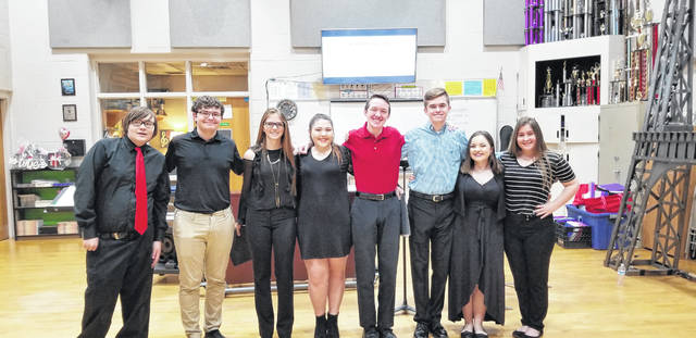 Pictured are the PPJ/SHS All-State Choir Members for 2019, from left to right, Ben Browning (bass one), Blake Towe (bass two), Taylor Tatterson (alto two), Aubrey Alford (alto one), Corey Wheeler (tenor one), Luke Blain (tenor two), Avery Richardson (soprano two), and Morgan Miller ( soprano one).