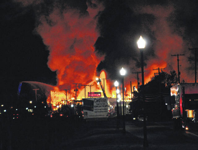 First responders from at least five fire departments, local law enforcement, emergency medical services, emergency management agency, AEP and many others were on the scene of a fire at the Mountaineer Metals/former Midwest Steel building on East Main Street in Pomeroy just after 11 p.m. on Saturday night. Crews were working to contain the fire to the warehouse building which is located between the Pomeroy Village Hall/Police Department and Powell's Foodfair. East Main Street is closed at this time as crews remain on scene battling the fire.