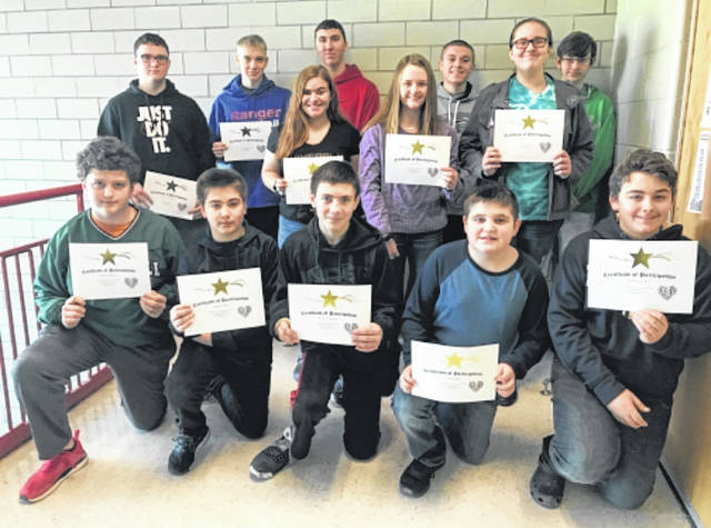After placing at the county level, Wahama High School students participated in the Regional Math Field Day in February. The eighth grade team of Chloe Robinson, Michael VanMatre, and Amber Wolfe placed third in the team division. Jacob Lloyd placed ninth in the high school division and advances to the state competition on April 27 at Fairmont State University. Pictured, front row from left, are Dalton Starkey, Nathan Fields, Sawyer VanMatre, Carson Gibbs, and Zachary Fields. Back row, from left, are Michael VanMatre, Cooper Peters, Tanner King, Jacob Fisher, Amber Wolfe, Jacob Lloyd, Chloe Robinson, and Skyler Putney.