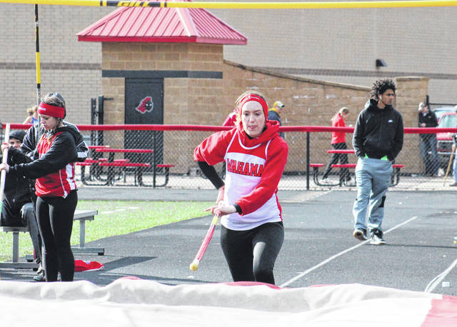 Wahama junior MacKenzie Barr makes her approach in the pole vault, during the Paul Wood Memorial Invitation on March 22 in Point Pleasant, W.Va.