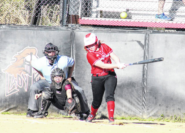 PPHS freshman Lilly Hill doubles in the first inning of the Lady Knights' 9-1 win over Meigs on Tuesday in Point Pleasant, W.Va.