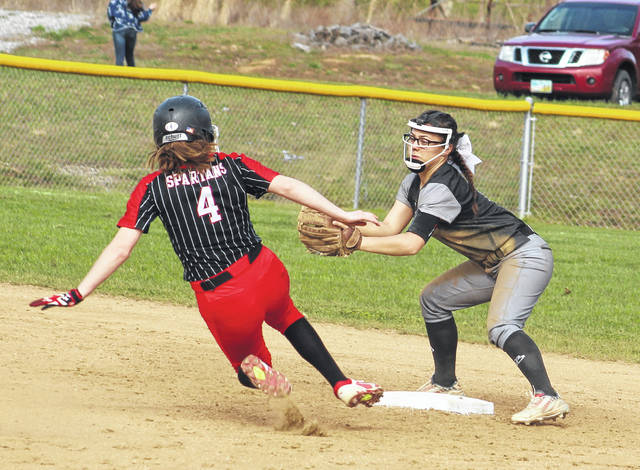 River Valley senior shortstop Cierra Roberts goes to apply a tag to an Alexander baserunner during the second inning of Wednesday night's TVC Ohio softball contest in Bidwell, Ohio.