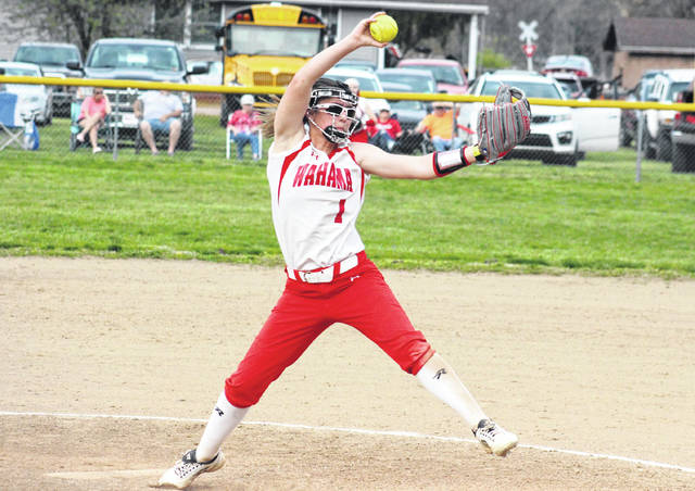 Wahama junior Hannah Rose (1) winds up for a pitch, during the Lady Falcons' 9-1 victory over Waterford on Thursday in Hartford, W.Va.
