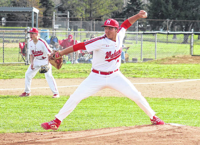 Wahama senior Antonio Serevicz delivers a pitch, during the White Falcons' 8-1 victory on Thursday in Mason, W.Va.