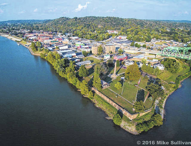 "This aerial photo of Point Pleasant taken by Mike Sullivan and shared by the Mason County Convention and Visitor's Bureau, shows ""the point"" in Point Pleasant, at the place where the Kanawha meets the Ohio River."
