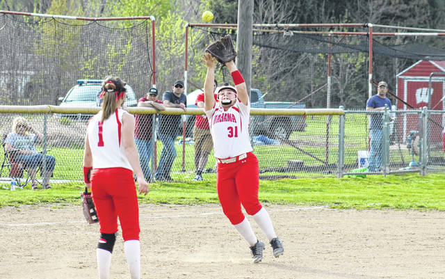 Wahama senior Tanner King (31) catches a pop-up in the infield, during the Lady Falcons' 9-8 victory over Eastern on Thursday in Hartford, W.Va.