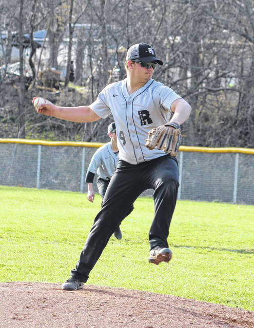 River Valley senior Chase Kemper delivers a pitch during the fifth inning of an April 1 TVC Ohio baseball contest against Meigs in Bidwell, Ohio.