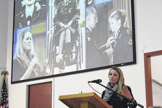 Jessica Lynch, veteran and former Prisoner Of War whose rescue from Iraqi forces in 2003 by U.S. special operations forces grabbed headlines around the world, speaks to a packed house during last night's 73rd annual banquet and awards dinner of the Mason County Area Chamber of Commerce. Lynch recounted her journey from young recruit, to her harrowing experience being captured and then rescued, as well as her life now. More on her speech, and the awards, in an upcoming edition. Lynch grew up in Palestine, West Virginia.