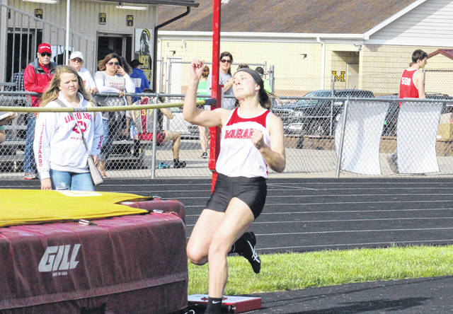 Wahama sophomore Abbie Lieving competes in the high jump at the Meigs Relays on April 16 in Rocksprings, Ohio.