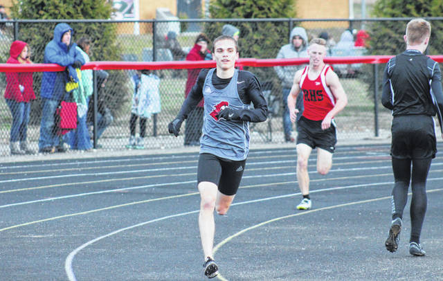 PPHS senior Luke Wilson leads the way in the 3200m run at the Paul Wood Memorial Invitational on March, 22 in Point Pleasant, W.Va.