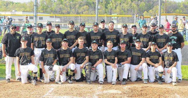 Members of the TVC Hocking champion Eastern baseball team pose for a picture after clinching a share of the title on Monday in Tuppers Plains, Ohio.