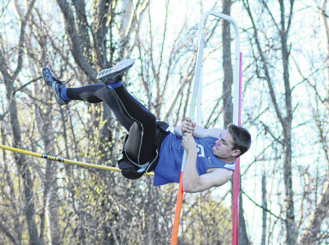 Gallia Academy sophomore Coen Duncan makes an attempt in the pole vault event at the 2019 Gallia County Meet held on April 9 at River Valley High School in Bidwell, Ohio.