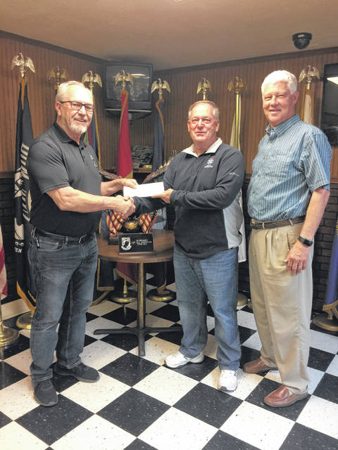 Commander Ray Varian of Mason VFW Post 9926 recently donated to the Gold Star Mothers Monument. Those pictured with Commander Varian are SAR President Ed Cromley and Mason County Commission President Rick Handley. The monument will be dedicated on Thursday, June 20.