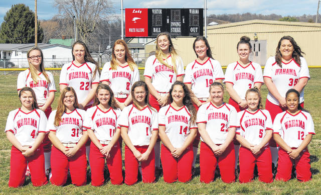 Pictured above are members of the 2019 Wahama varsity softball team. Kneeling in the front row, from left, are Isabella Ogdin, Tanner King, Hannah Billups, Hannah Rose Emily VanMatre, Maddy VanMatre, Bailee Bumgarner, and Aleisia Barnitz. Standing in the back row are Adrionna Bennett, Emma Fisher, Madi Grinstead, Emma Gibbs, Lauren Noble, Victoria VanMatre and Deborah Miller.