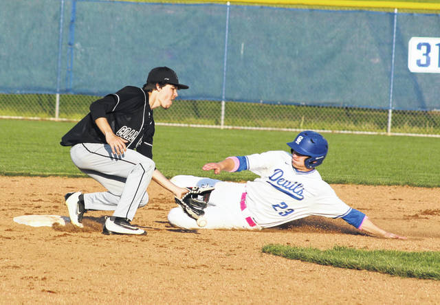 Gallia Academy junior Andrew Toler slides safely into second base during the fifth inning of Monday night's OVC baseball contest against Coal Grove in Centenary, Ohio.