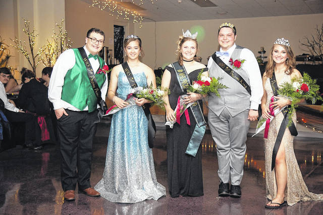 The Wahama High School Junior/Senior Prom took place Saturday at the offices of the Mason County Board of Education (the former Moose Lodge). Pictured from left are prom royalty, Junior Prince Connor Bumgarner, Junior Princess Hannah Rose, Senior Prom Queen Maddy VanMatre and Senior Prom King Brandon Duncan, Senior Attendant Hannah Billups.