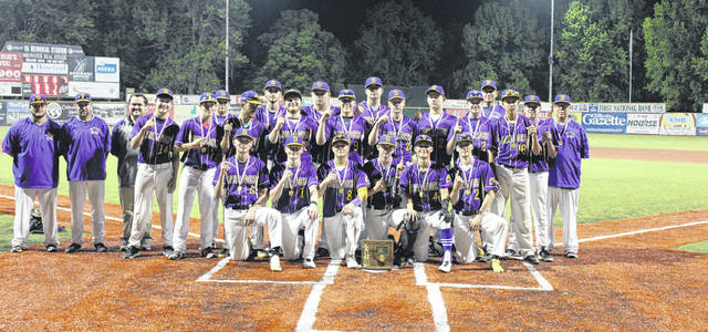 Members of the 2019 district champion Southern baseball team pose with trophy, after its 8-0 victory over Clay on Wednesday in Chillicothe, Ohio.