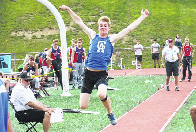GAHS senior Cory Call competes in the long jump at the Region 7 championships at Muskingum University on Thursday in New Concord, Ohio.