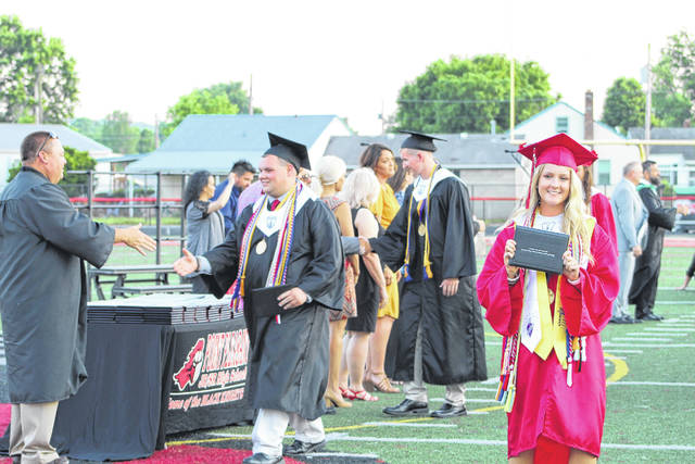 In all, 178 seniors at Point Pleasant High School received diplomas during Saturday's 123rd commencement ceremony. The line starts here to pick up those important pieces of paper.