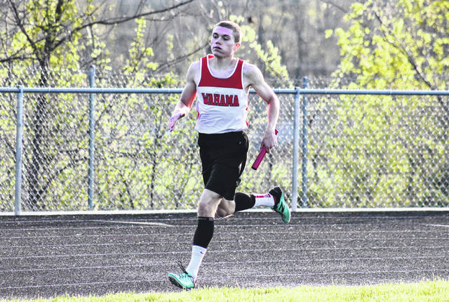 Wahama senior Jacob Lloyd competes in the distance medley at the Meigs Relays on April 16 in Rocksprings, Ohio.