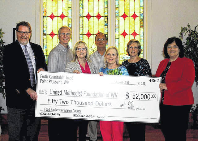 Pictured from left, Jeff Taylor, United Methodist Foundation of West Virginia, John Fruth, Lynne Fruth, Jim Rossi, Joan Fruth, Sharry Rossi and Kim Matthews, United Methodist Foundation of West Virginia.