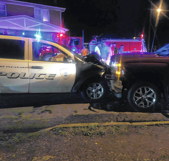 This Point Pleasant Police Department SUV was reportedly hit head on Thursday evening. The patrolman escaped with minor injuries and a Point Pleasant man has been charged with DUI causing bodily injury. Also pictured, first reponders in the background.