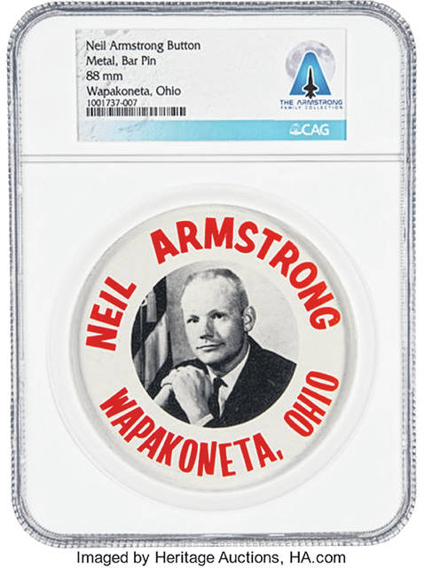 Photo courtesy of Heritage Auctions/HA.com Among Neil Armstrong's personal items being sold at auction is a metal bar pin noting Armstrong's hometown of Wapakoneta.