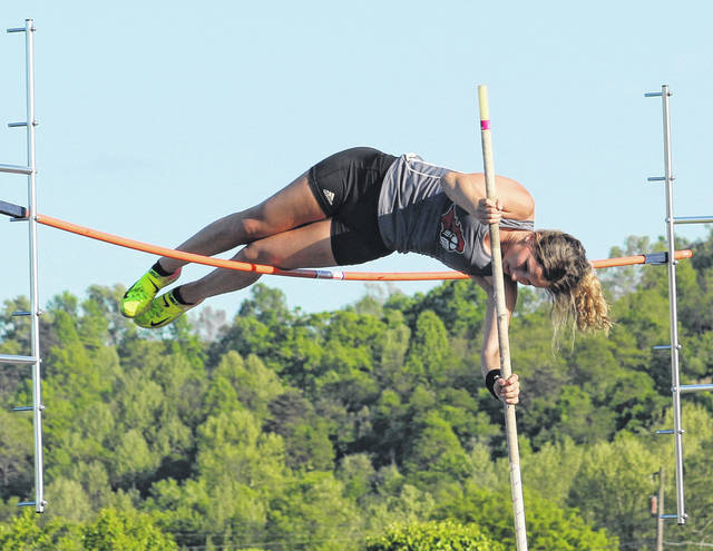 Point Pleasant junior Samantha Saunders clears the bar while setting a new school record in the pole vault on Monday at the 2019 Battle for the Anchor meet held at Gallia Academy High School in Centenary, Ohio.