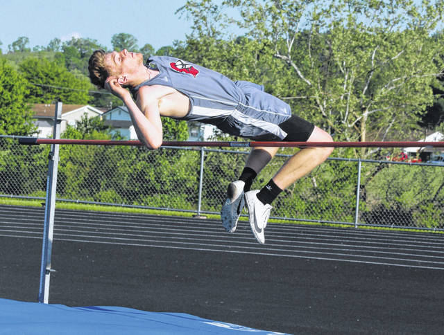 Point Pleasant junior Logan Southall clears the bar during the high jump event at the 2019 Battle for the Anchor event held May 6 at Gallia Academy High School in Centenary, Ohio.