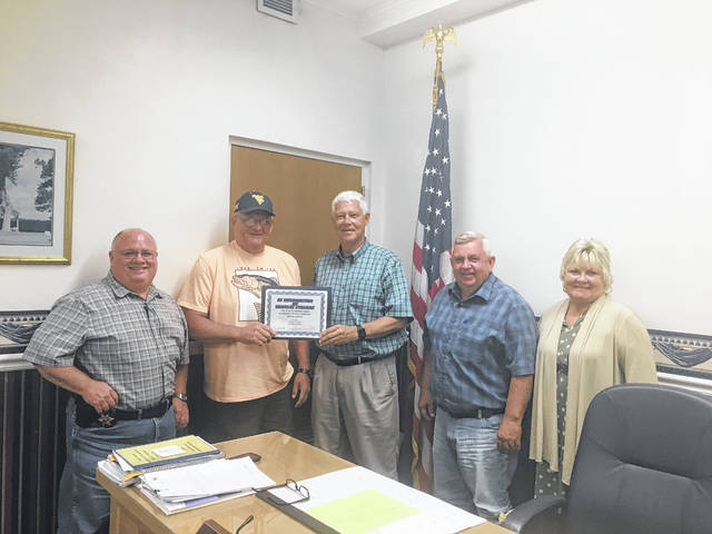 The Mason County Sheriff's Department recently honored retired Deputy Charlie Stearns due to his retirement for his 38 years of service. Those pictured, from left, are Sheriff Greg Powers, Charlie Stearns, Commissioners Rick Handley, Sam Nibert and Tracy Doolittle.
