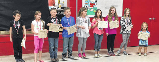 The third grade multiplication masters were Hadleigh Cossin, Harley Eads, Madison Farley, Alexis Lucas, Abigail Oliver, Braydan Spencer, James Trent, Kinley Waldron, and Hunter Watson.
