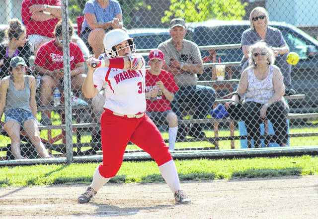 Wahama senior Tanner King offers at a pitch during the Lady Falcons' sectional final victory over Ravenswood on May 8 in Hartford, W.Va.