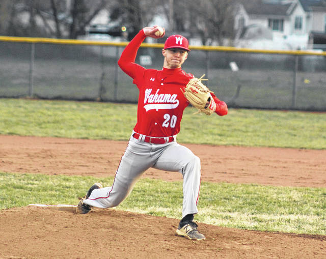 Wahama senior David Hendrick (20) releases a pitch during a March 22 baseball contest against Point Pleasant in Point Pleasant, W.Va.