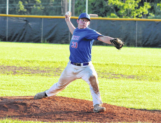Post 39 reliever Billy Harmon delivers a pitch during Wednesday night's 9-1 victory over the Ripley Dirtbags in an American Legion baseball game at Meigs High School in Rocksprings, Ohio.
