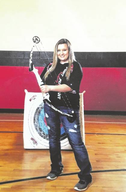 Adriane Sharp, pictured, qualified for the national archery shoot where she competed in the high school division and ended with an overall score of 280/300.