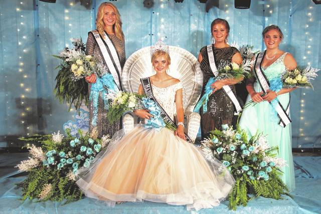 2018 Mason County Fair Queen Kate Henderson, who is sitting, is pictured with, from left, Second Runner-Up Sarah Deem, Third Runner-Up Karlee Edmonds, and First Runner-Up Marlee Bruner.