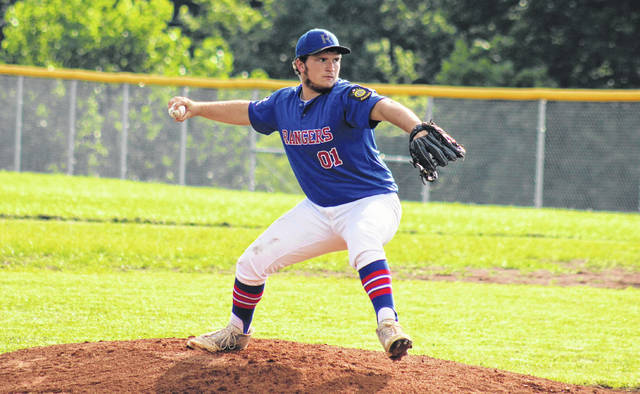 Rangers starting pitcher Coltin Parker delivers a pitch, during the a July 5 contest at Meigs High School in Rocksprings, Ohio.