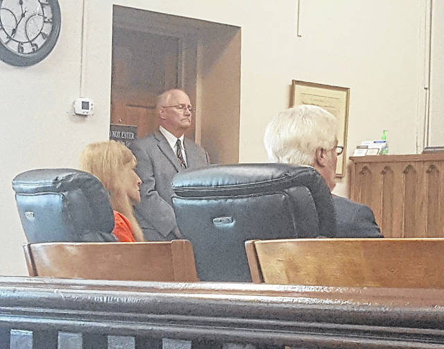 Tammy Neace sits alongside counsel Gregory Meyers during her arraignment on Monday in Meigs County Common Pleas Court.