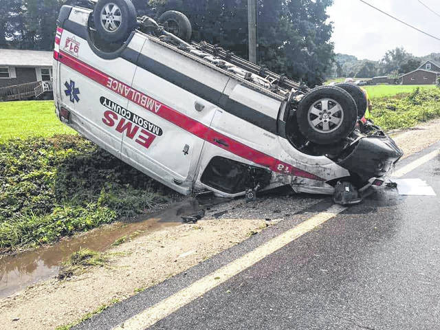 No injuries were sustained Sunday, when a Mason County EMS ambulance was involved in a one-vehicle accident on Rt. 62 near Mason. Two crew members were aboard the vehicle when it hit standing water, hydroplaned, hit an embankment, and rolled over twice, according to Dennis Zimmerman, Mason County EMS Director.