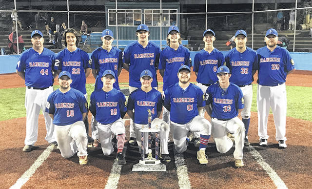 Members of the 2019 Meigs Post 39 Rangers baseball team pose for a picture after capturing the District 8 American Legion championship on Monday night following a 7-3 victory over Lancaster Post 11 at Beavers Field in Lancaster, Ohio.