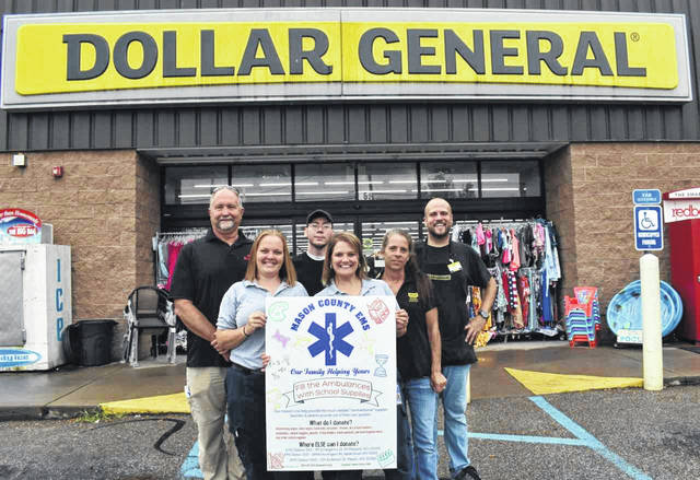 The Mason County EMS is hosting a back-to-school drive for nontraditional classroom supplies, such as disinfecting wipes, ice packs, tissues, hand sanitizer and more. Dollar General Stores throughout the county have agreed to serve as drop off points, along with the EMS stations. Pictured, front row from left, are Jessica Kapp, EMT, and Elisabeth Lloyd, EMS Community Involvement Coordinator. Back row from left, are EMS Director Dennis Zimmerman, and Point Pleasant Dollar General employees Chris Berkley, Michelle Cummins, and Troy Hudson.