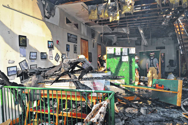 Fire damage and debris from inside the Point Pleasant River Museum and Learning Center the day after the fire.