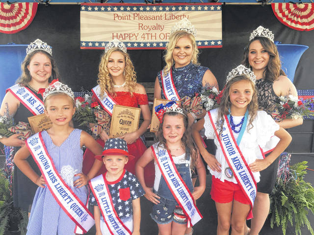 The crowned contestants from the inaugural Liberty Fest pageant are, pictured back row, from left, Kamille Bonecutter, Ms. Queen; Madison Gill, Teen Miss Queen; Kelsey Price, Miss Queen; Mickala Layman, Mrs. Queen. Those pictured in the front row, from left, Alexis Roush, Young Miss Queen; Jaxon Kapp, Little Mister King; Taylor Parsons, Little Miss Queen; and Tiarah Thornton, Junior Miss Queen. The pageant is under the direction of Delyssa Edwards.