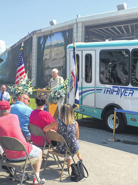 Commissioner Rick Handley speaks during the ribbon cutting ceremony for the Mason County public transit service.