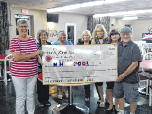 Phyllis Arthur receiving the check from Ray Armentrout for the New Haven Pool's charity bingo night pictured as well are fellow members of the New Haven Pool Committee.