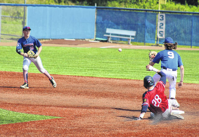 Post 39 shortstop Carter Smith, left, relays a throw to second baseman Kyelar Morrow for a force out that ended the fourth inning Wednesday during a 6-1 victory over Pemberville Post 183 in the opening round of the American Legion state baseball tournament being held at Beavers Field in Lancaster, Ohio.