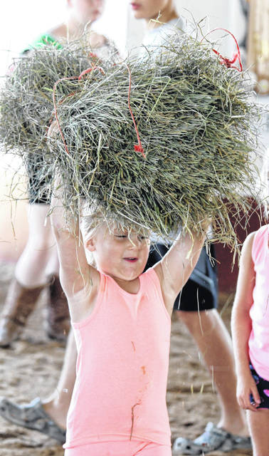 Fun from the hay bale toss.