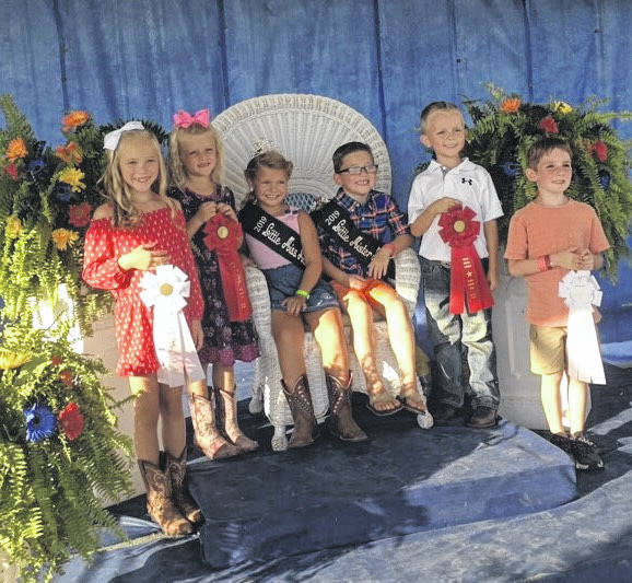 The fair's young royals were chosen Monday evening during the Little Miss and Little Mister Mason County contests, hosted each year by the GFWC Point Pleasant Junior Woman's Club. Pictured is the royal court, from left, Little Miss Second Runner Up Macie Patrick, Little Miss First Runner Up Kabella Ord, Little Miss Mason County Wrylie Conrad, Little Mister Mason County Bryson Sweeney, Little Mister First Runner Up Weston Stein, Little Mister Second Runner Up Isaac Lewis.