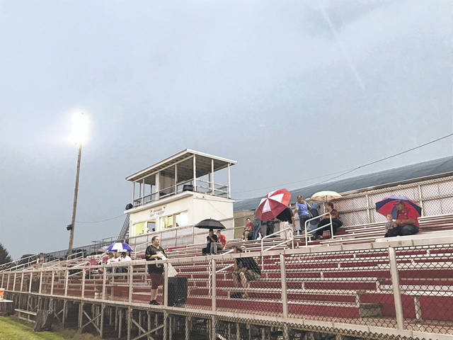 The bleachers clear in Mason during Friday's contest between the Wahama White Falcons and Ravenswood Red Devils due to severe weather. Several games were delayed thanks to lightning, rain and wind which welcomed the start of the 2019 high school football season across the area. In Mason County, while Wahama played at home, Hannan began its season at Parkerburg Catholic while Point Pleasant begins its season Sept. 13 at Gallia Academy. More on the outcome of Friday's games at www.mydailyregister.com and in Tuesday's edition.