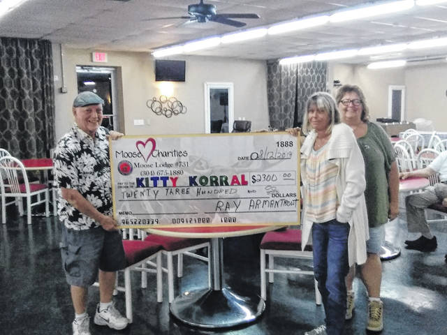 During the last special charity bingo night hosted by the lodge, the Mason County Kitty Korral received approximately $2,300 in total, $1,300 from bingo and $1,000 in supplies.